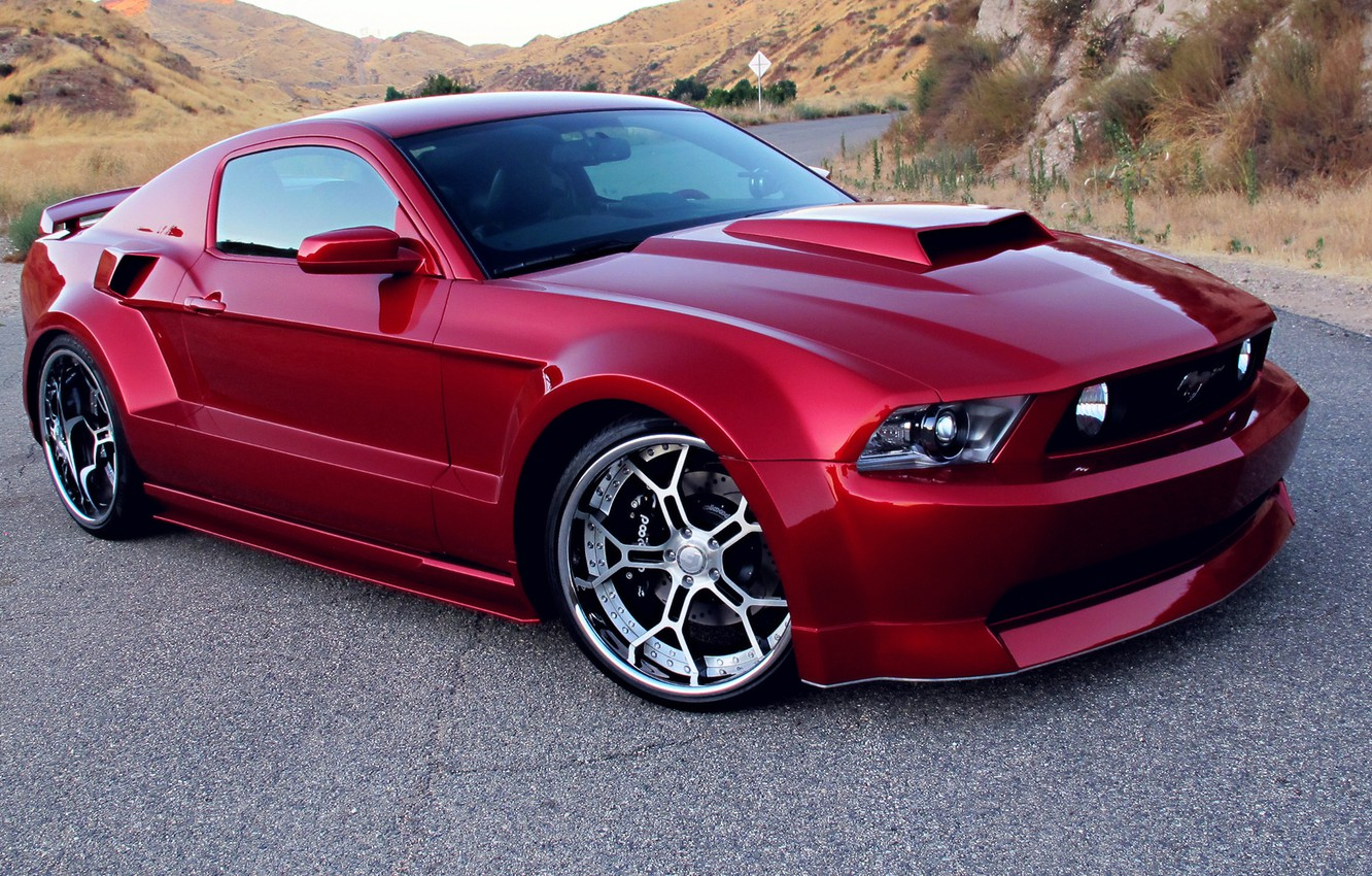 Photo wallpaper Red, Tuning, Wide Body Kit, Rims, Ford Mustang GT