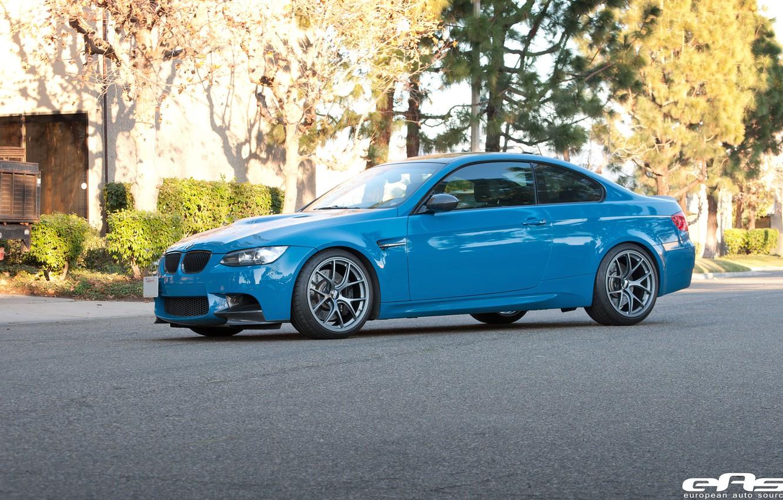 Photo wallpaper bmw, BMW, drives, blue, blue, bbs, e92, laguna seca