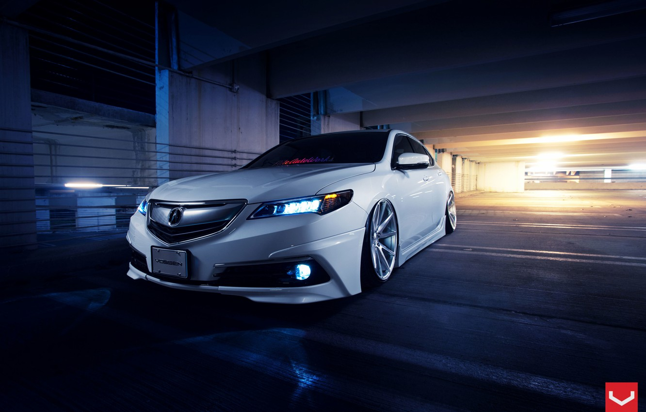 Photo wallpaper Car, Front, White, Tuning, Acura, Vossen, Wheels, TLX, Nigth