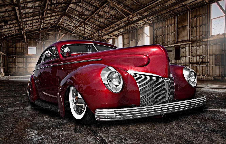 Photo wallpaper retro, hangar, car, classic, the front, classic car