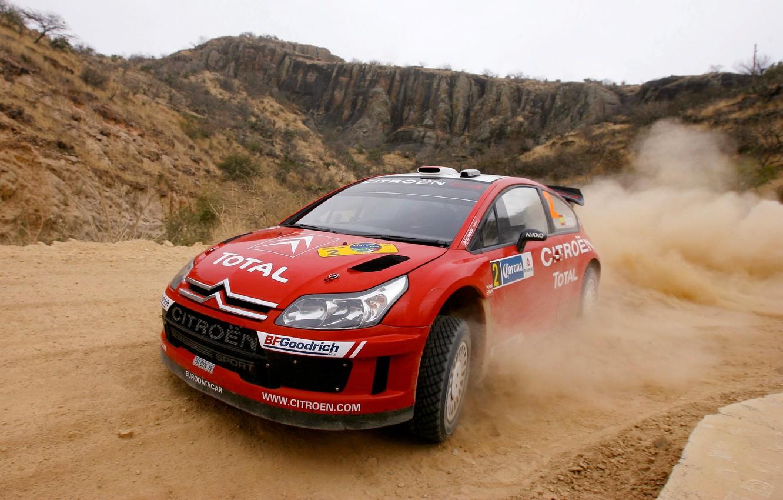 Photo wallpaper Dust, Turn, Citroen, Lights, Rally, Rally, The front, Dani Sordo, Total