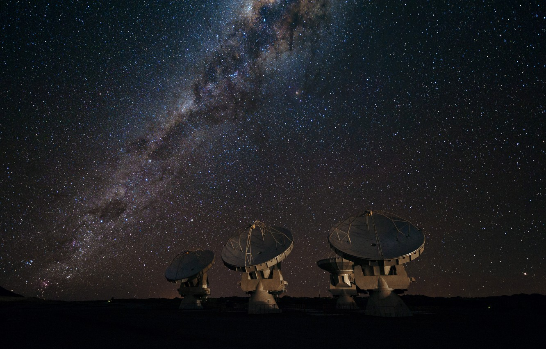 Photo wallpaper stars, The milky way, galaxy, radio telescope