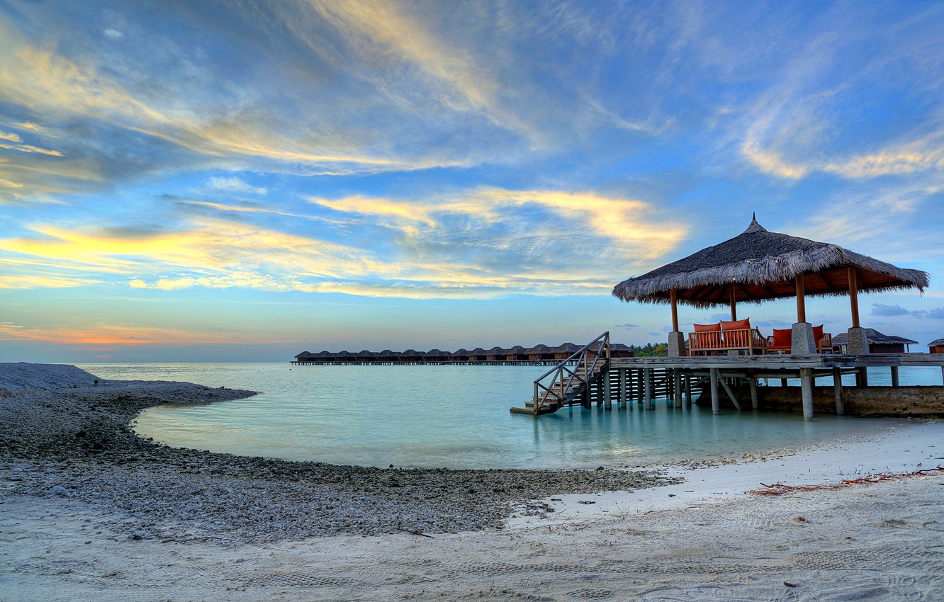 Photo wallpaper sand, sea, the sky, clouds, sunset, stones, shore, the evening, The Maldives, Bungalow