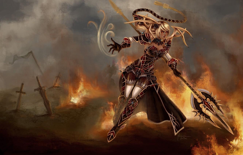 Photo wallpaper girl, weapons, fiction, fire, armor, warrior, art, destruction, swords, janna, league of legends