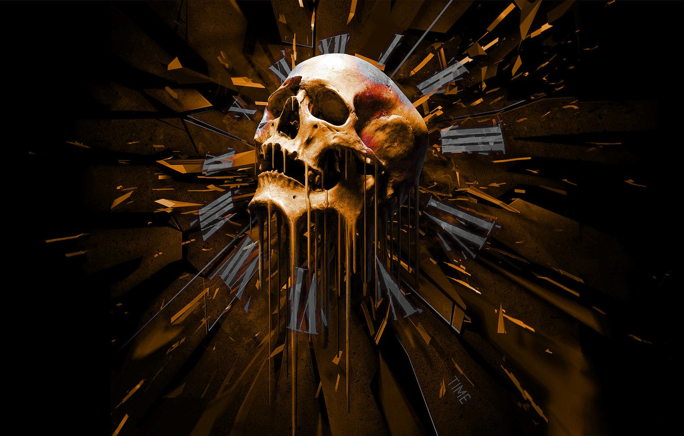Photo wallpaper Skull, Time, Watch, Arrows, Time