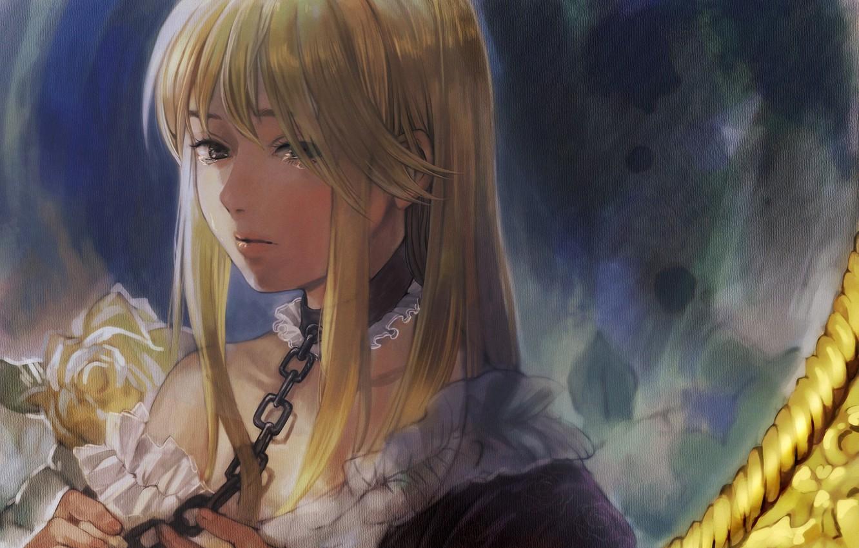Photo wallpaper girl, flowers, roses, tears, art, chain, collar, white, umineko no naku koro ni, when the …