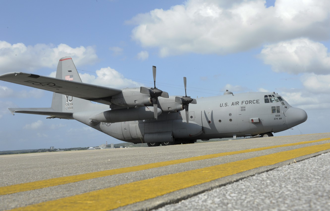 Photo wallpaper clouds, the plane, the airfield, Lockheed, military transport, Hercules, C-130, US Air Force, Kadena AFB