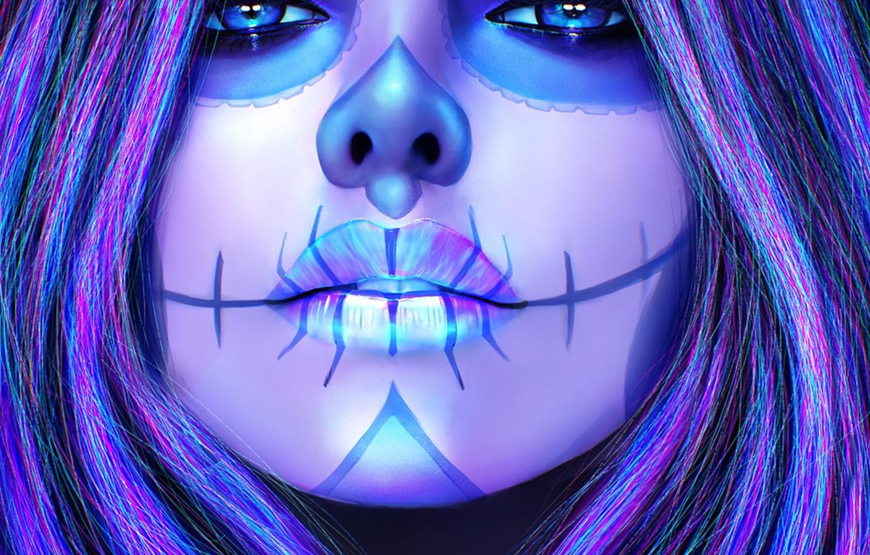 Photo wallpaper girl, face, hair, beauty, art, lips, make up, sugar skull, sugarskull, dia delos muertos