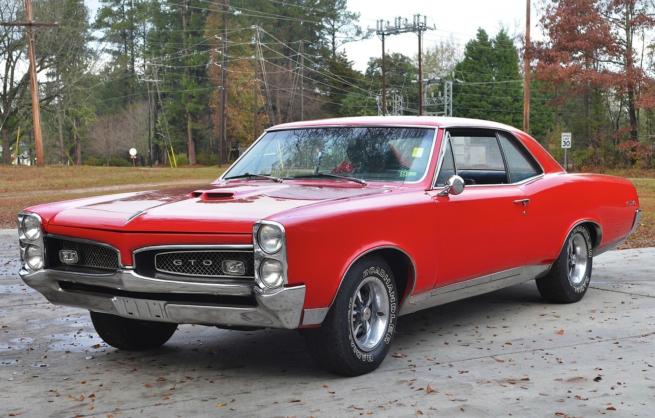 Photo wallpaper red, retro, coupe, red, muscle car, classic, muscle car, coupe, 1967, pontiac, Pontiac, hardtop, gto, …