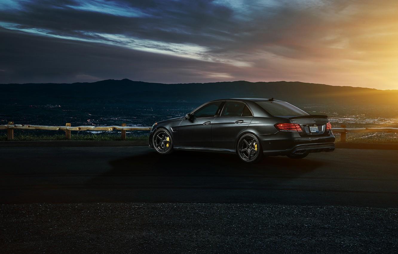 Photo wallpaper Mercedes-Benz, Nature, Sky, California, Motorsport, Summer, Sonic, E63, Rear, Ligth, Nigth, AMG S