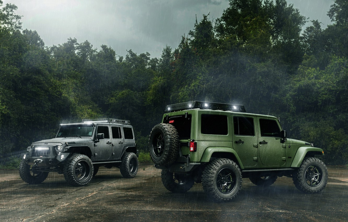 Photo wallpaper Cars, Green, Black, Rain, Wrangler, Jeep, Off Road