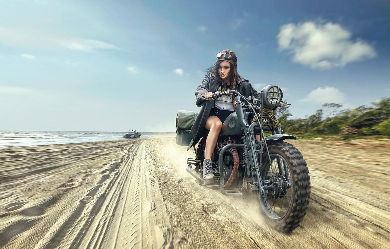 Photo wallpaper beach, girl, motorcycle