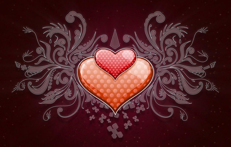 Photo wallpaper Patterns, Heart, Polka dot