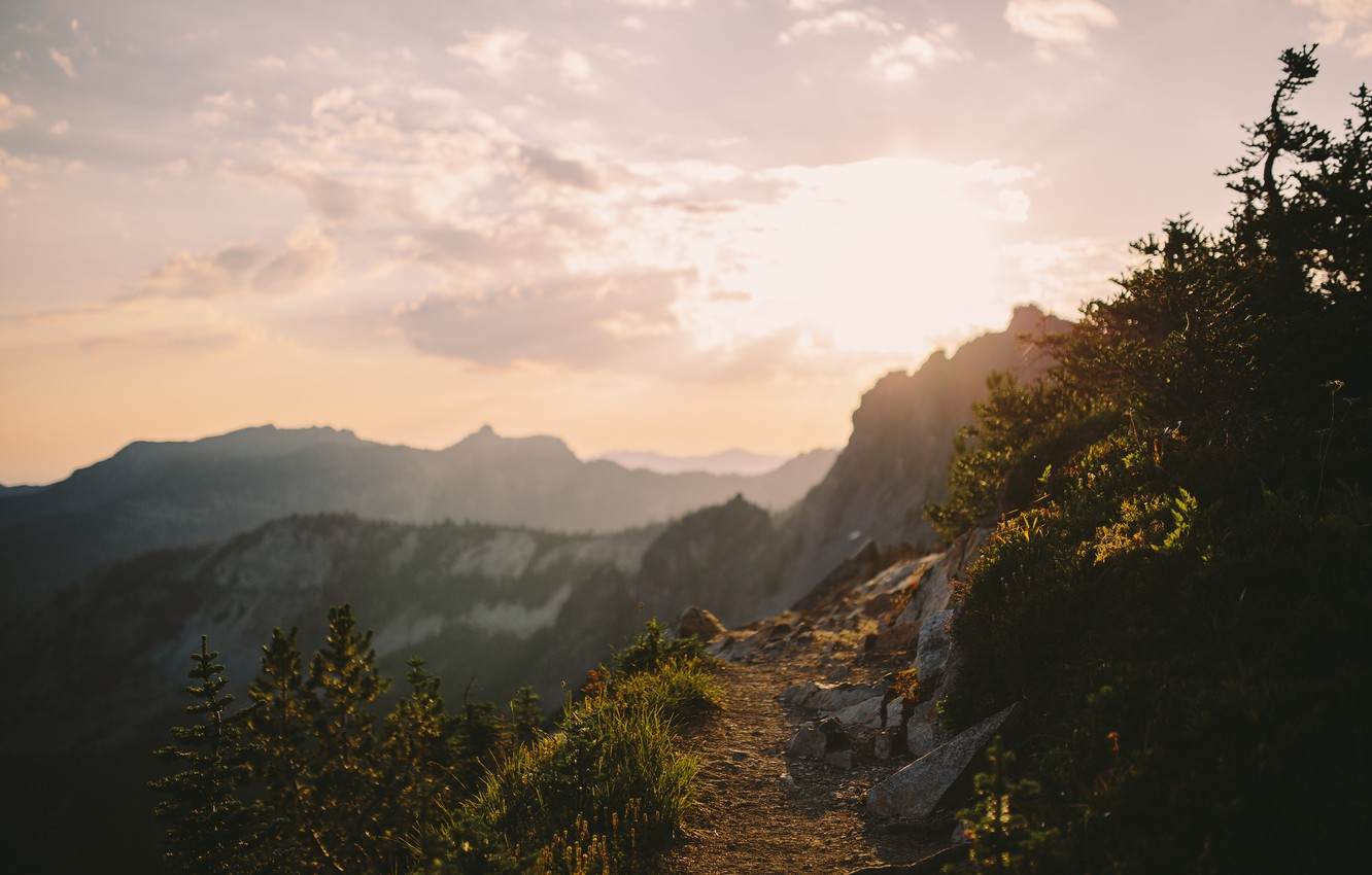Photo wallpaper The sun, The sky, Clouds, Mountains, Grass, Trees, Forest, Horizon, Stones