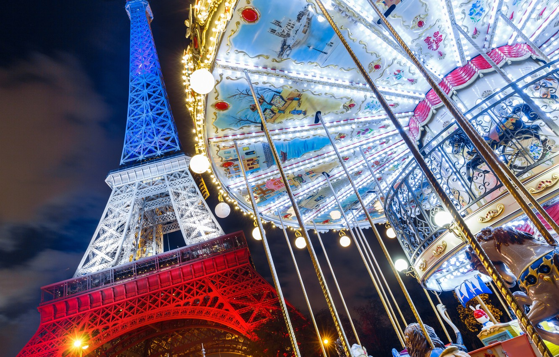 Photo wallpaper France, Paris, Eiffel tower, carousel, Paris, France, Eiffel Tower