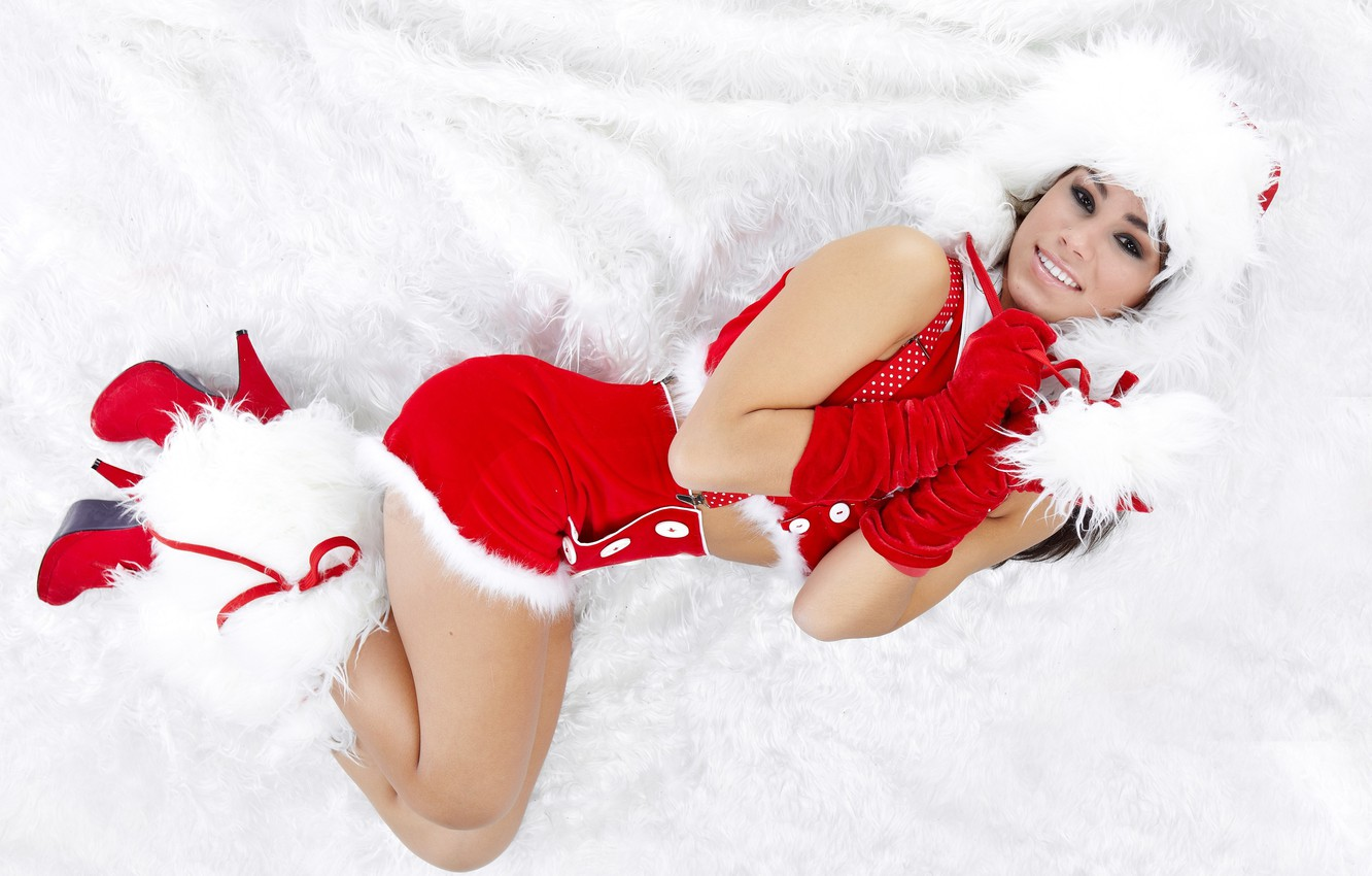 Photo wallpaper girl, smile, holiday, new year, fluffy, outfit, nice, Winter beauty