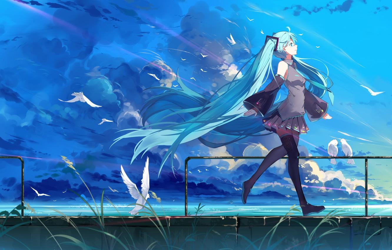 Photo wallpaper the sky, girl, clouds, birds, nature, smile, anime, art, form, vocaloid, hatsune miku, haraguroi you