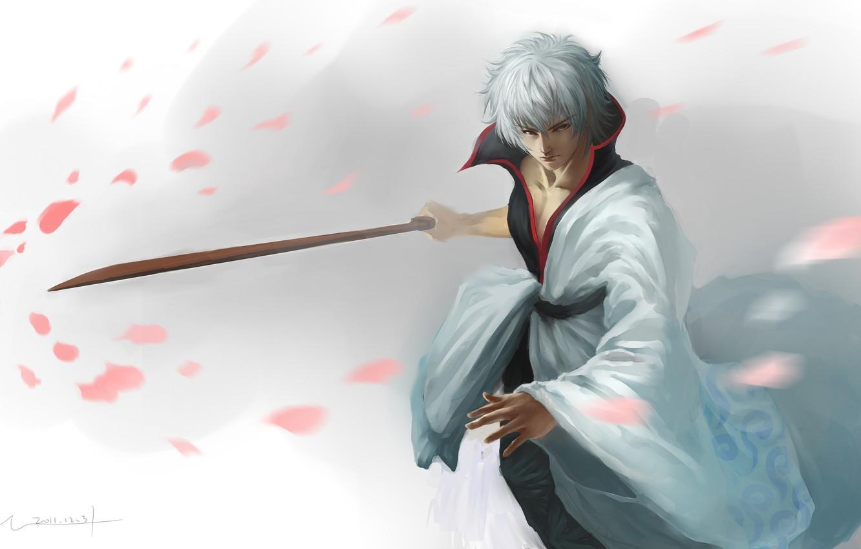 Photo wallpaper sword, katana, petals, art, guy, gintama, sakata gintoki, hangleing