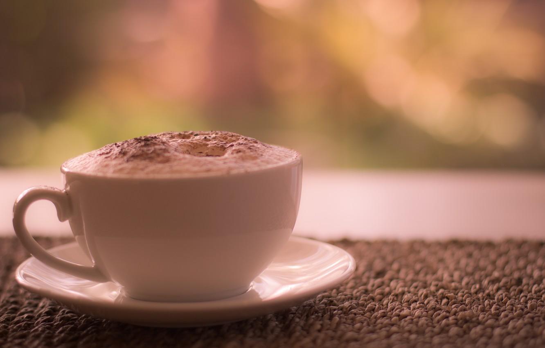 Photo wallpaper coffee, Cup, cinnamon, saucer, foam, latte, morning, morning coffee