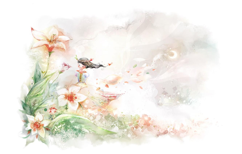 Photo wallpaper summer, smile, the wind, girl, gentle. flowers