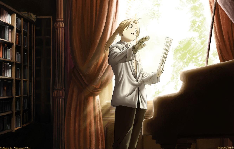 Photo wallpaper notes, books, piano, Art, Art, prosthesis, Fullmetal Alchemist, Fullmetal Alchemist, Storm-and-Fire, Edward Elric, Edward Elric