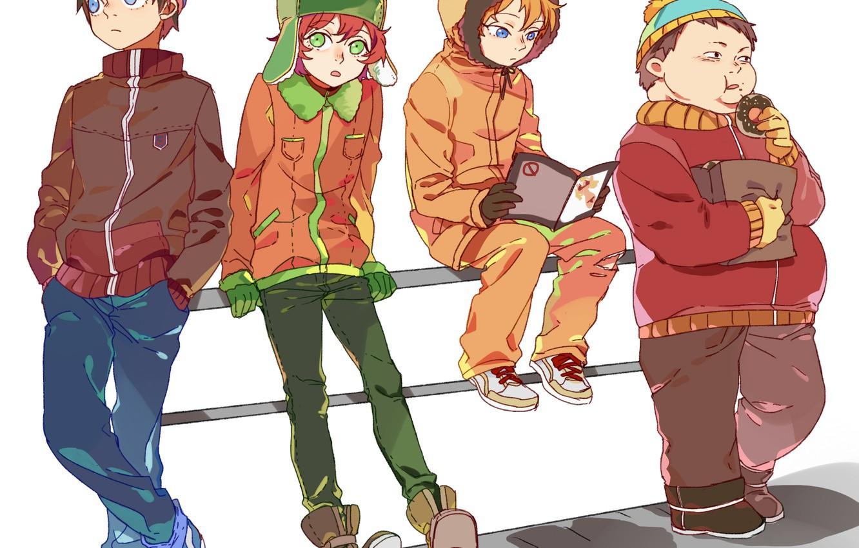 Photo wallpaper anime, art, donut, journal, south park, boys, kenny mccormick, eric theodore cartman, newrein, kyle broflovski, …