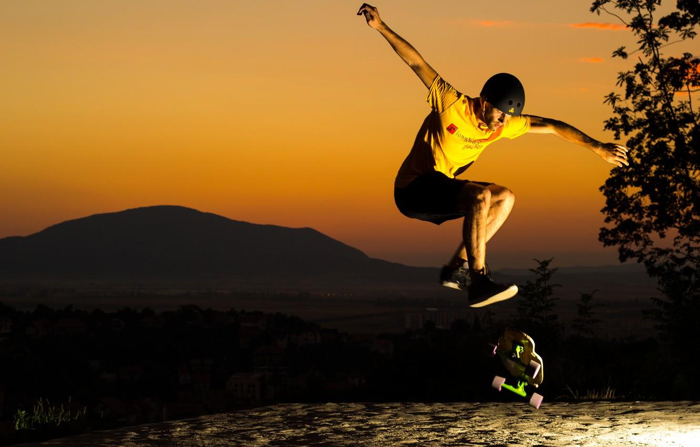 Photo wallpaper sunset, jump, helmet, guy, skate