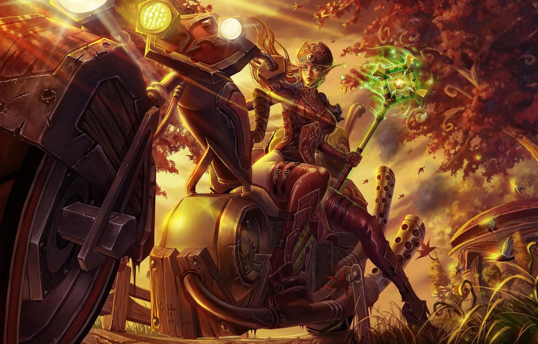 Photo wallpaper wow, world of warcraft, blood elf, horde, mehanotsikl, The blood elf