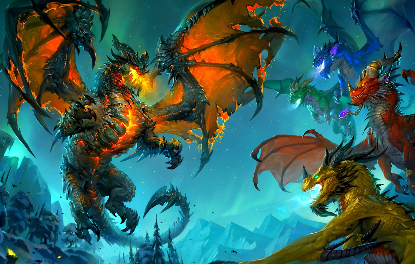 Photo wallpaper dragons, wow, cataclysm, Deathwing, deathwing, the dragon aspects, world of wacraft