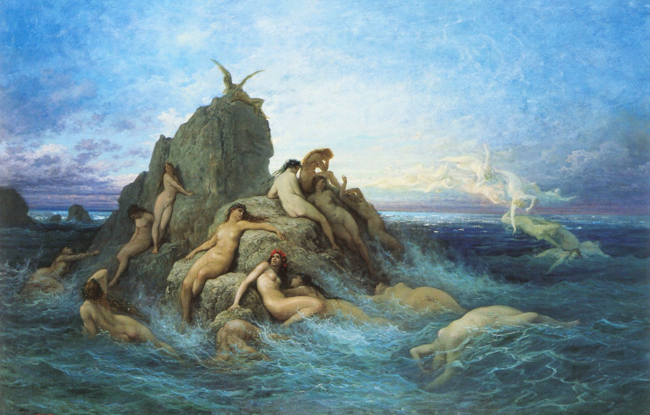 Photo wallpaper sea, wave, the sky, clouds, rocks, picture, myth, Gustave Dore, sea Naiads