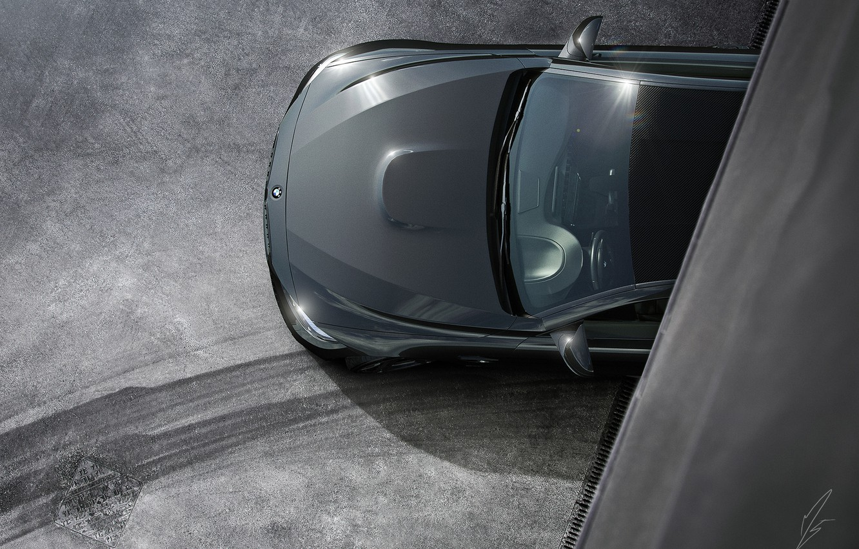 Photo wallpaper BMW, Car, Black, Coupe, Matte, Wheels, Ligth, Top View