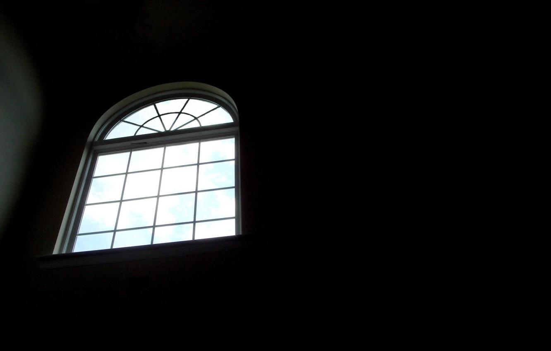 Photo wallpaper void, room, grille, Black, window, temnota