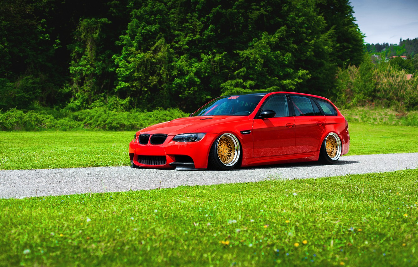 Photo wallpaper BMW, Red, Grass, Green, Color, Stance, Low, E91