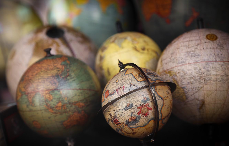 Photo wallpaper the world, map, globes