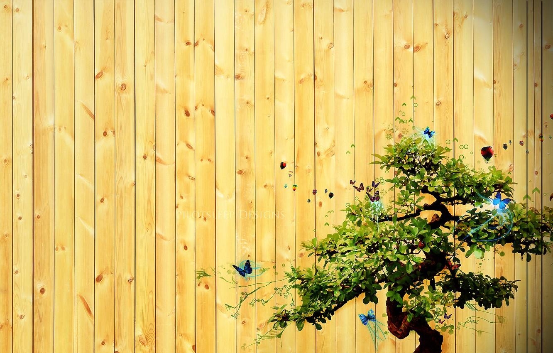 Photo wallpaper tree, the inscription, Board