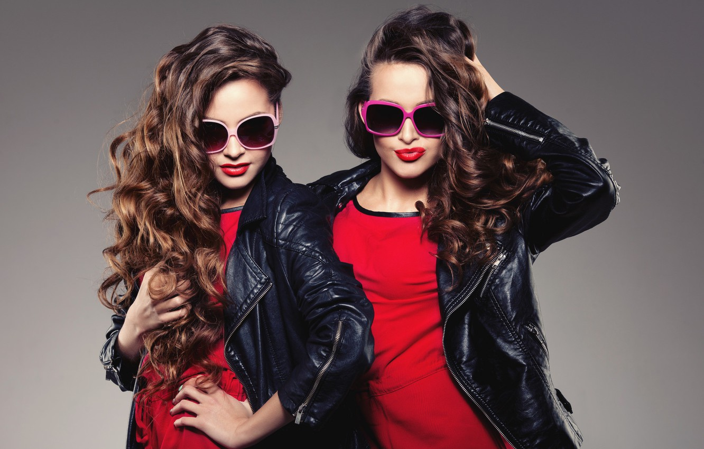 Photo wallpaper style, girls, hair, glasses, face, model, jackets