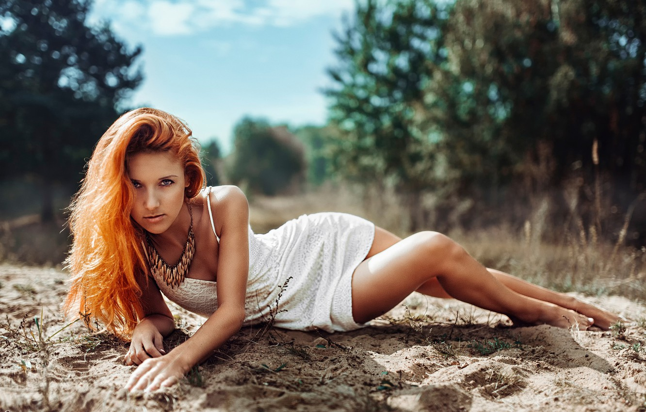Photo wallpaper sand, look, nature, dress, Fox, the red-haired girl, red fox