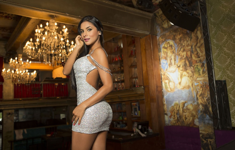 Photo wallpaper girl, model, figure, dress, chandelier, beauty, sexy, Columbia, Tatiana Ramos, Tatiana Ramos, cheerleader real Madrid
