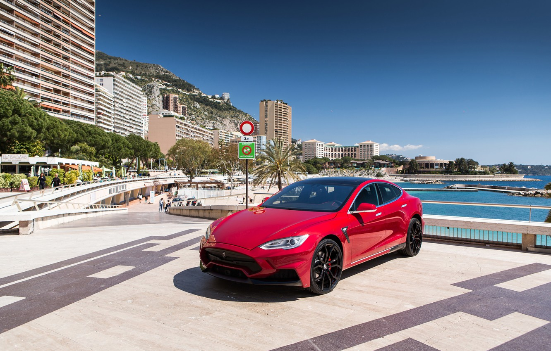 Photo wallpaper beach, resort, Tesla, Monaco, Model S, 2015, Elizabeth