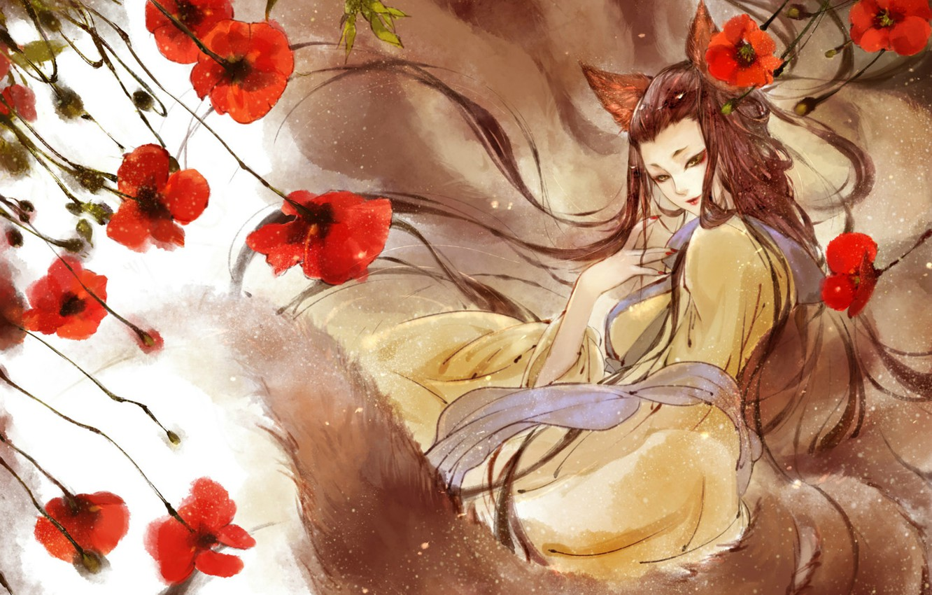 Photo wallpaper the wind, Maki, Girl, scarf, tail, red, ears, long hair