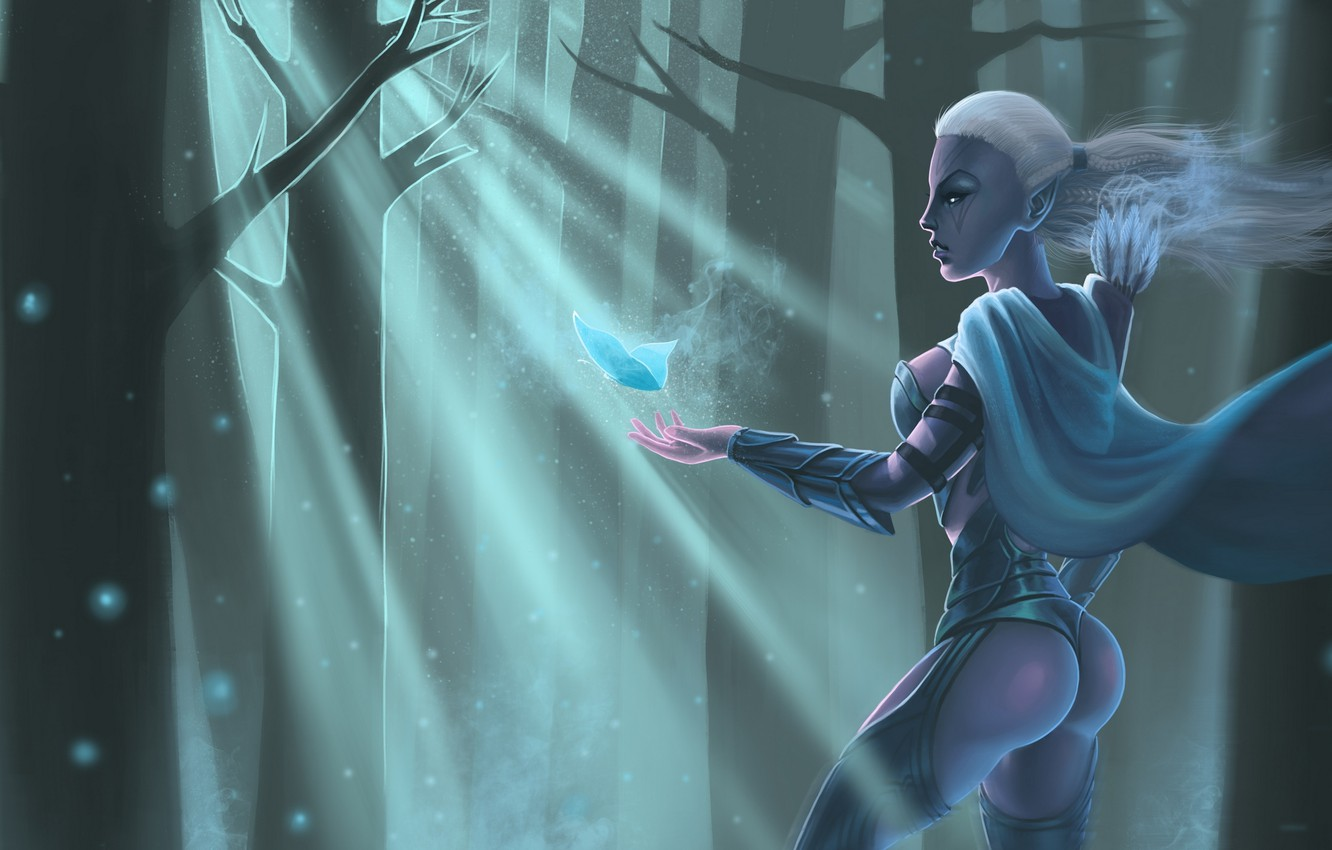 Wallpaper Girl Butterfly Art Cloak Traxex Dota2 Drow Ranger