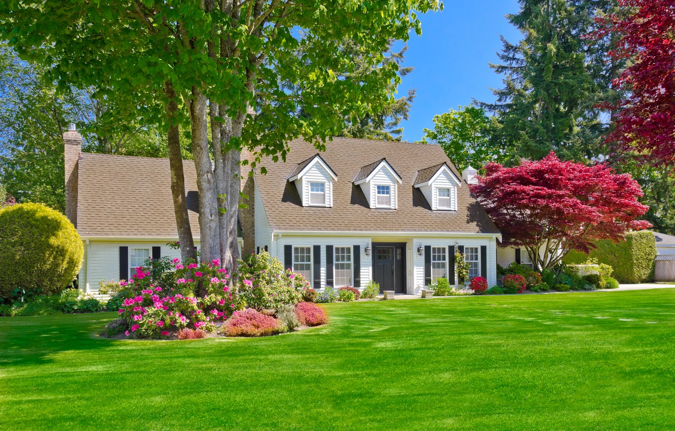 Photo wallpaper greens, summer, grass, the sun, trees, flowers, design, house, lawn, mansion, the bushes, lawn