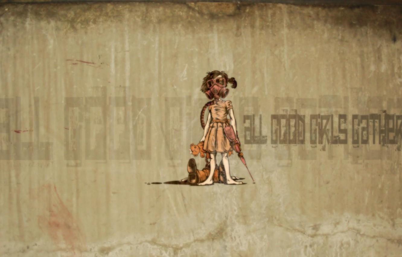 Photo wallpaper desktop, graffiti, bear, girl
