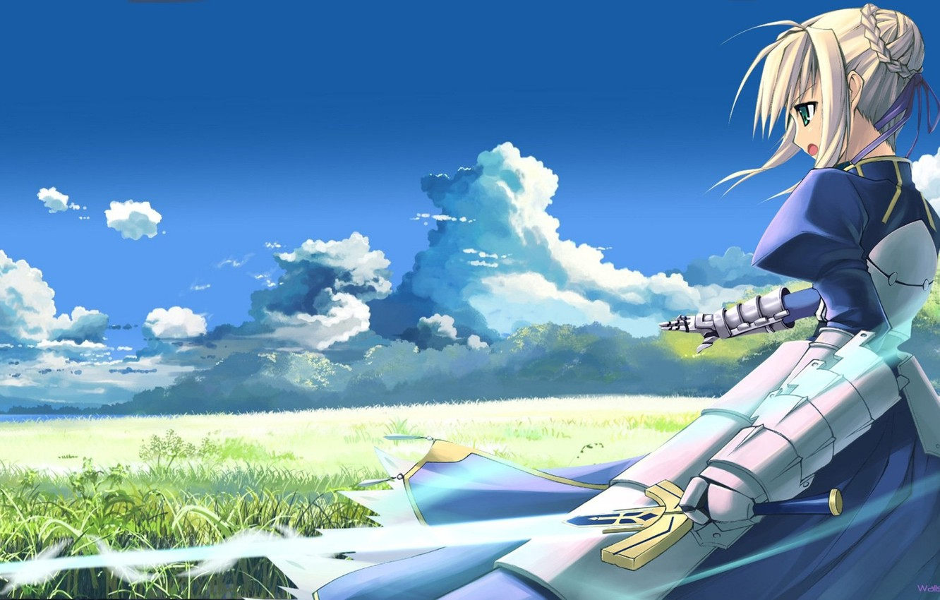 Photo wallpaper the sky, grass, girl, sword, meadow, armor, The saber, enchanted sword Fate/stay night