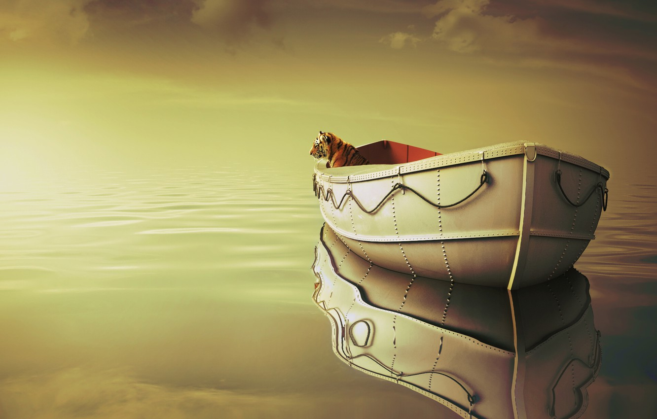 Photo wallpaper sea, clouds, tiger, boat