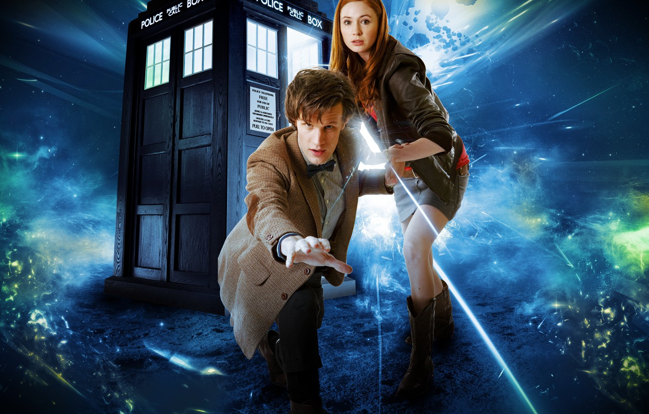 Photo wallpaper girl, fiction, male, the series, Doctor Who, Doctor Who, the TARDIS, police box, Matt Smith, …