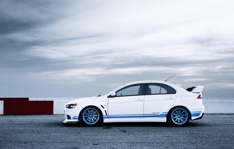Photo wallpaper white, Mitsubishi, Lancer, white, Evolution, track, Lancer, Mitsubishi, evolution