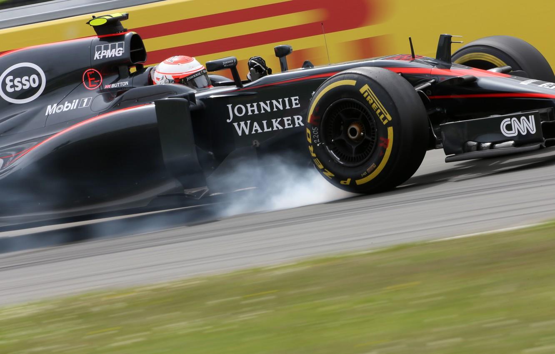 Photo wallpaper McLaren, Smoke, Formula 1, Jenson Button, MP4-30, Braking