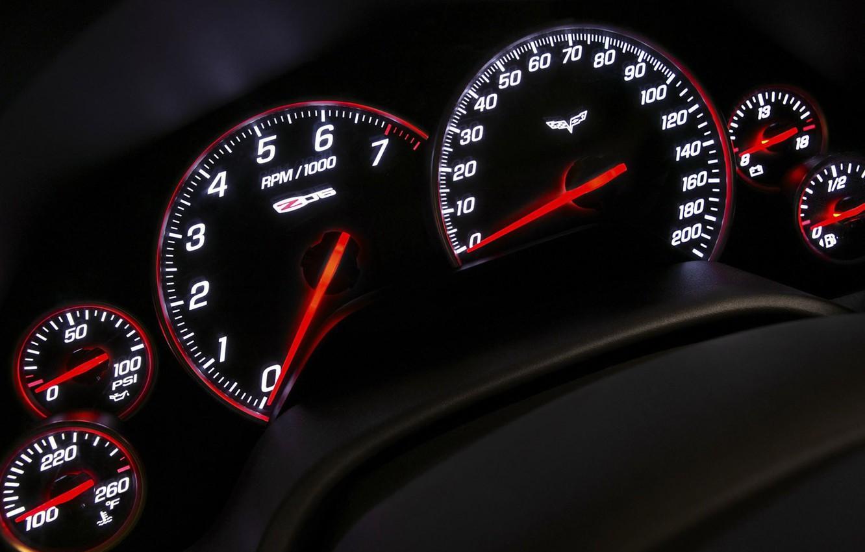 Photo wallpaper arrows, panel, speedometer, devices, Z06, Corvette, Chevrolet, tachometer