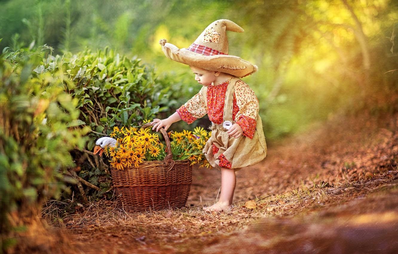 Photo wallpaper flowers, childhood, basket, tale, hat, boy, costume, goose